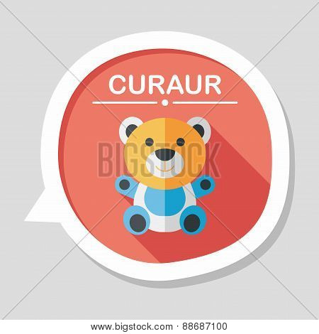 Teddy Bear Flat Icon With Long Shadow,eps 10