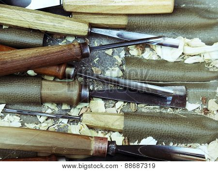 Carving Tools, Wood In Joiner's Workshop