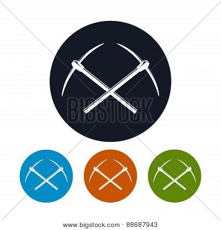 Icon Of Two Crossed Pickaxes