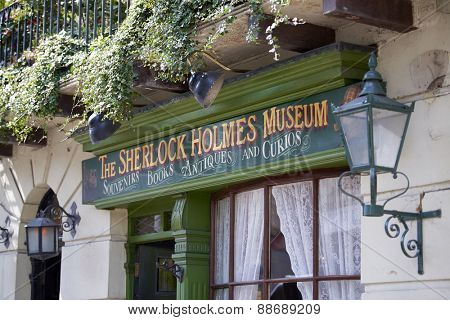 LONDON, UK - APRIL 22: Detail of banner in the entrance to the Sherlock Holmes museum. April 22, 2015 in London.