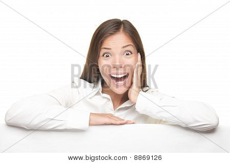 Blank Sign Billboard Woman Excited