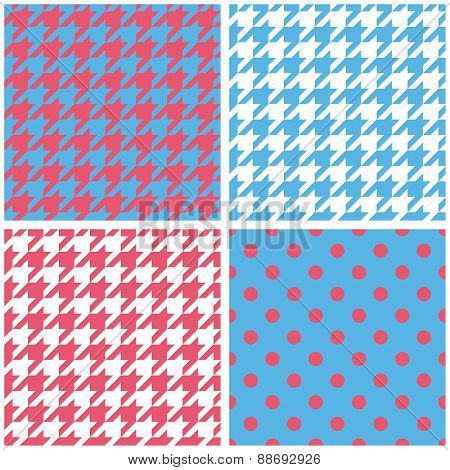 Houndstooth and polka dots seamless pattern collection.