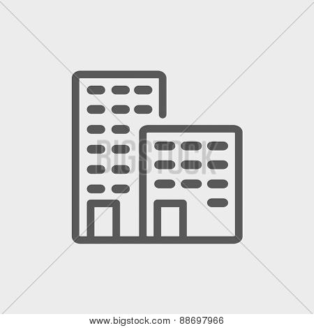 Office buildings icon thin line for web and mobile, modern minimalistic flat design. Vector dark grey icon on light grey background. poster