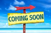 Coming Soon sign with beach background poster
