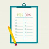 Pros and Cons list. Selection of the optimal solutions, weighing the facts. Clipboard and pencil. flat design poster