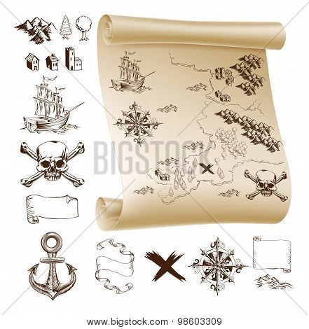 Example map and design elements to make your own fantasy or treasure maps. Includes mountains buildings trees compass ship skull and crossbones and more. poster