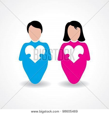 Male and female icon with love sign stock vector