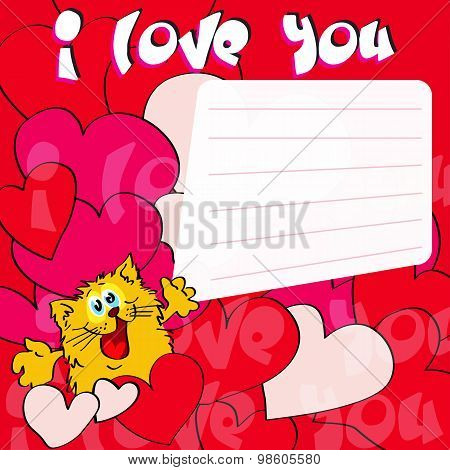 Greeting card I love you! with cat and hearts poster