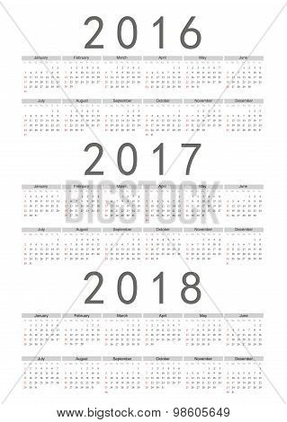Set Of Rectangle European 2016, 2017, 2018 Year Vector Calendars