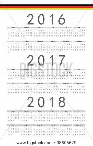 Set Of Rectangle German 2016, 2017, 2018 Year Vector Calendars