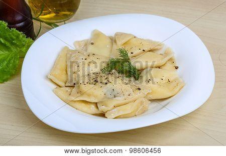 Ukrainian porato dumplings - Vareniki served dill herb poster
