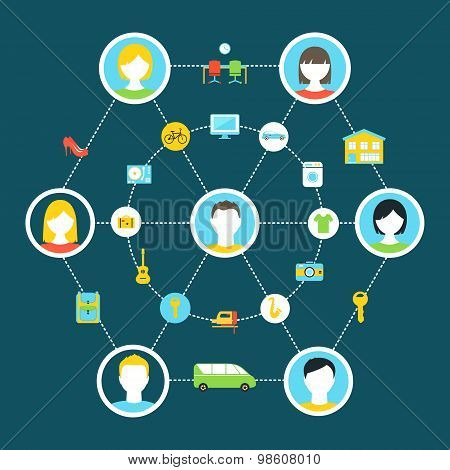 Collaborative Consumption and Shared Economy Concept Illustration poster