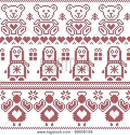 Scandinavian vintage Christmas  Nordic seamless pattern with penguin, angel, teddy bear, xmas gifts,