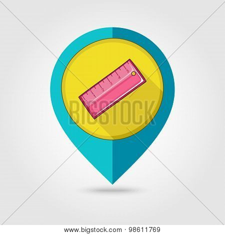 Straightedge Flat Mapping Pin Icon