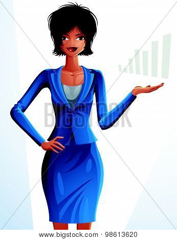 Beautiful mulatto businesswoman, full-length portrait. Colorful drawing of cute slender girl