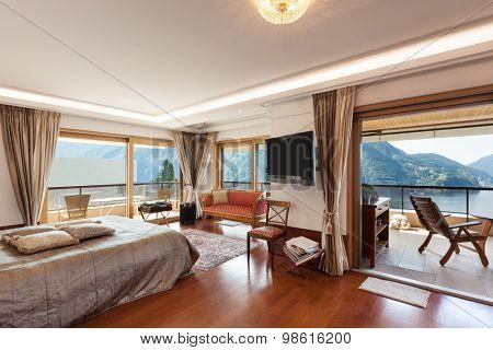 Interior of a modern apartment, classic decor, bedroom