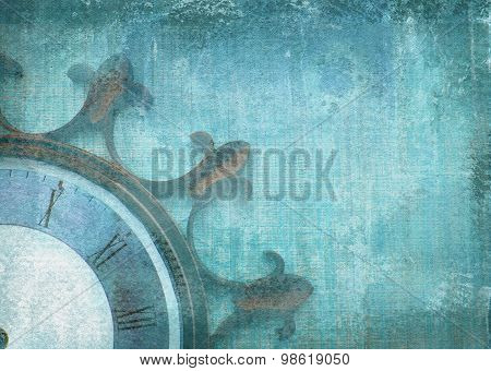 Illustration Of Dial Without Arrows In The Shape Of Ship Wheel.