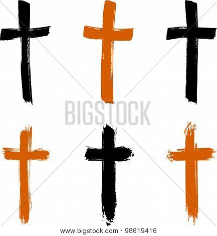 Set of hand-drawn black and yellow grunge cross icons, collection of Christian cross signs
