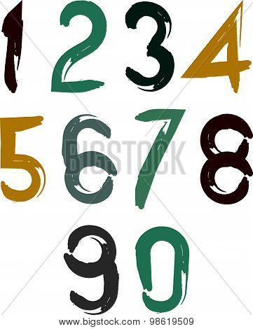 Calligraphic brush numbers, hand-painted bright vector numeration. poster