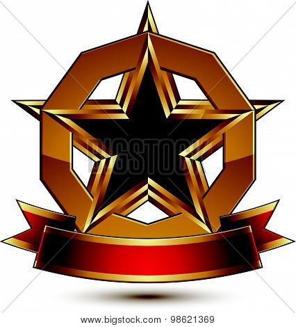 Golden vector stylized round symbol with black glamorous pentagonal star, Clear EPS8 insignia