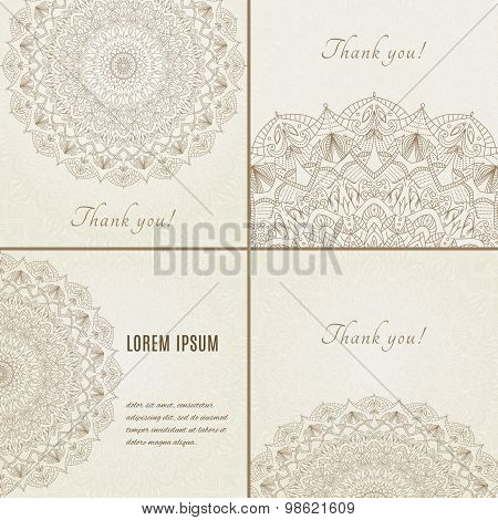 Collection of cards with complex, detailed mandala