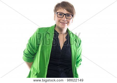 Photo of smiling pudgy woman in glasses