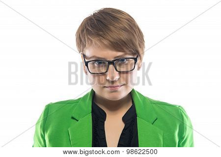 Photo of serious pudgy woman in glasses