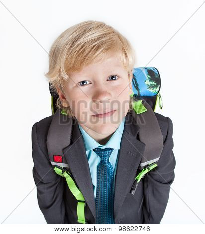 Portrait Of Schooler With School Backpack Looking At Camera, Isolated On White Background
