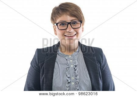 Photo of thick smiling woman in glasses