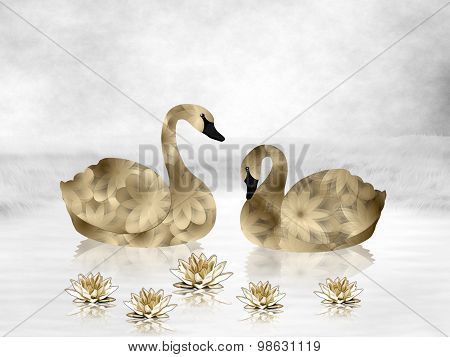Gold Swans and Water Lilies