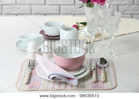 Beautiful table setting close up