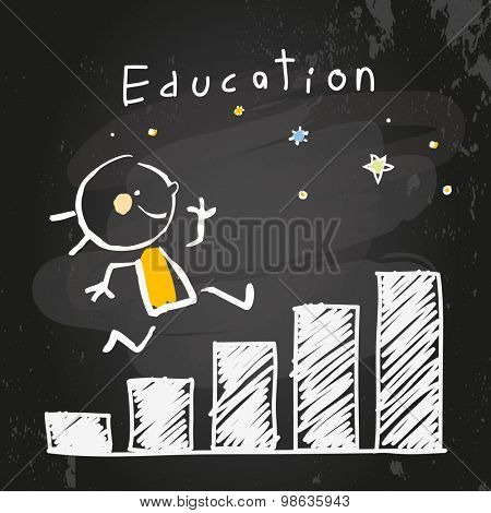 Kid education growing chart, graph. Chalk on blackboard doodle style education concept vector illustration.