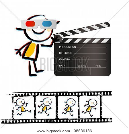 Kid with 3d glasses, and clapperboard. Grunge filmstrip with animation in frames. Vector doodle illustration.