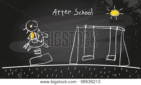 After school activities, kid at playground. Chalk on blackboard vector concept doodle style hand drawn illustration.