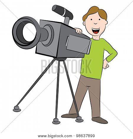An image of a cartoon cameraman standing behind television camera.