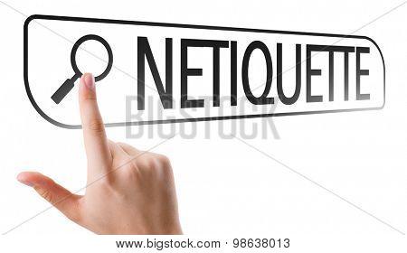 Netiquette written in search bar on virtual screen