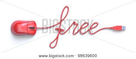 Red mouse and cable in the shape of free word