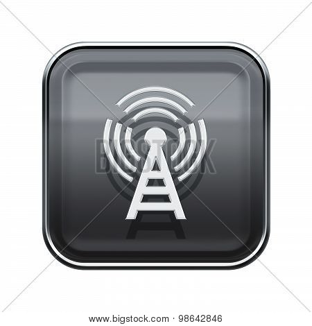 Wi-fi Tower Icon Glossy Grey, Isolated On White Background
