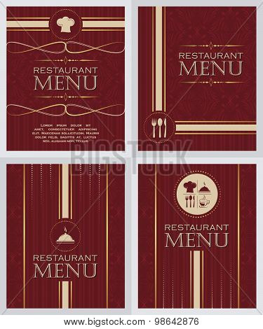 Set of restaurant menu design cover template in retro style