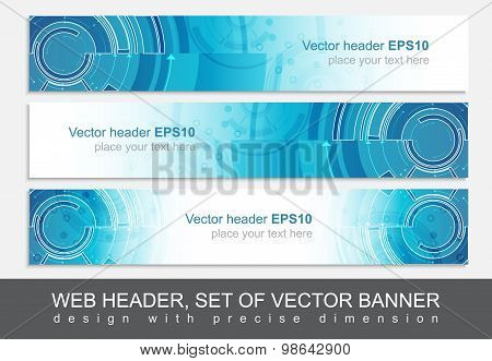 Set of three horizontal website header or banner templates with technological pattern