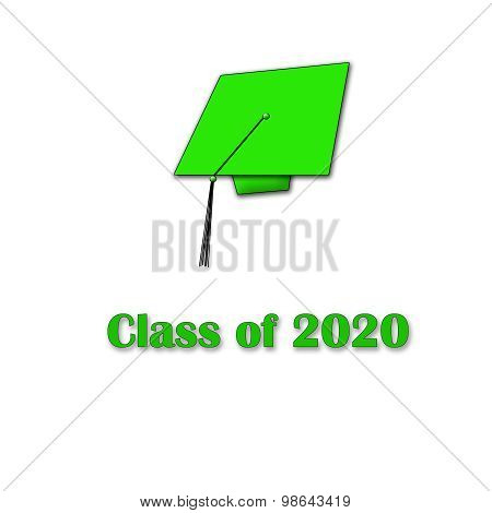 Class of 2020 Green on White Single Large