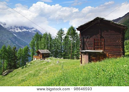 The beautiful  rural landscape with chalet near Tasch.