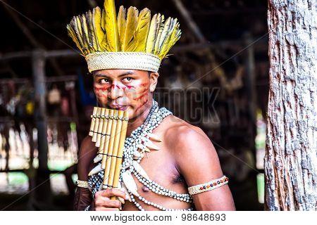AMAZON, BRAZIL - CIRCA MARCH 2014: Indian tribe ritual in Amazon, Brazil