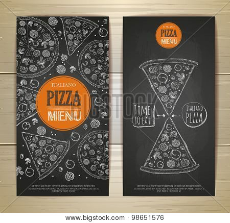 Chalk Drawing Pizza. Set Of Banners
