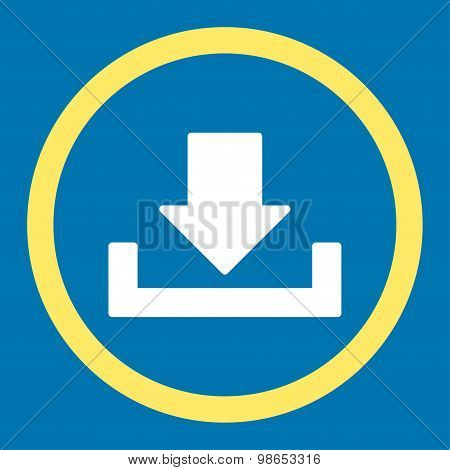 Download raster icon. This rounded flat symbol is drawn with yellow and white colors on a blue background. poster