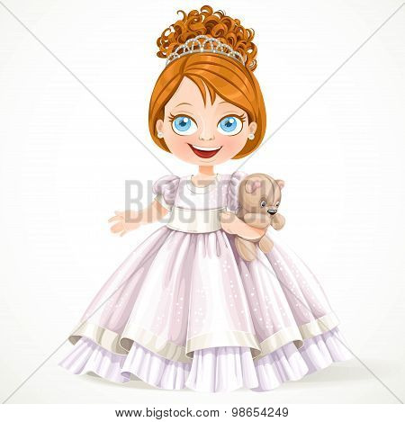Cute Little Princess In A Magnificent White Dress With Teddy Bea