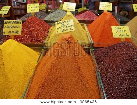 Different spice boxes in a Turkish Spice Bazar poster