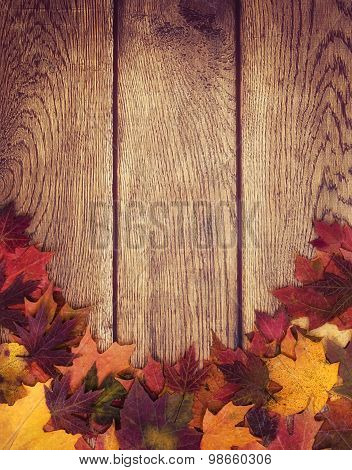 Autumn Leaves Border Against Wood Background