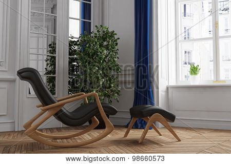 Relaxation chair in living room on old building (3D Rendering)