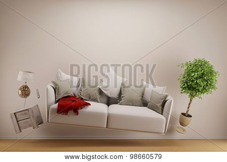 Zero gravity living room with hoovering sofa and furniture (3D Rendering)